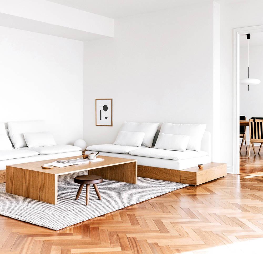 Mẫu phòng khách đơn giản và tinh gọn với gam màu trắng