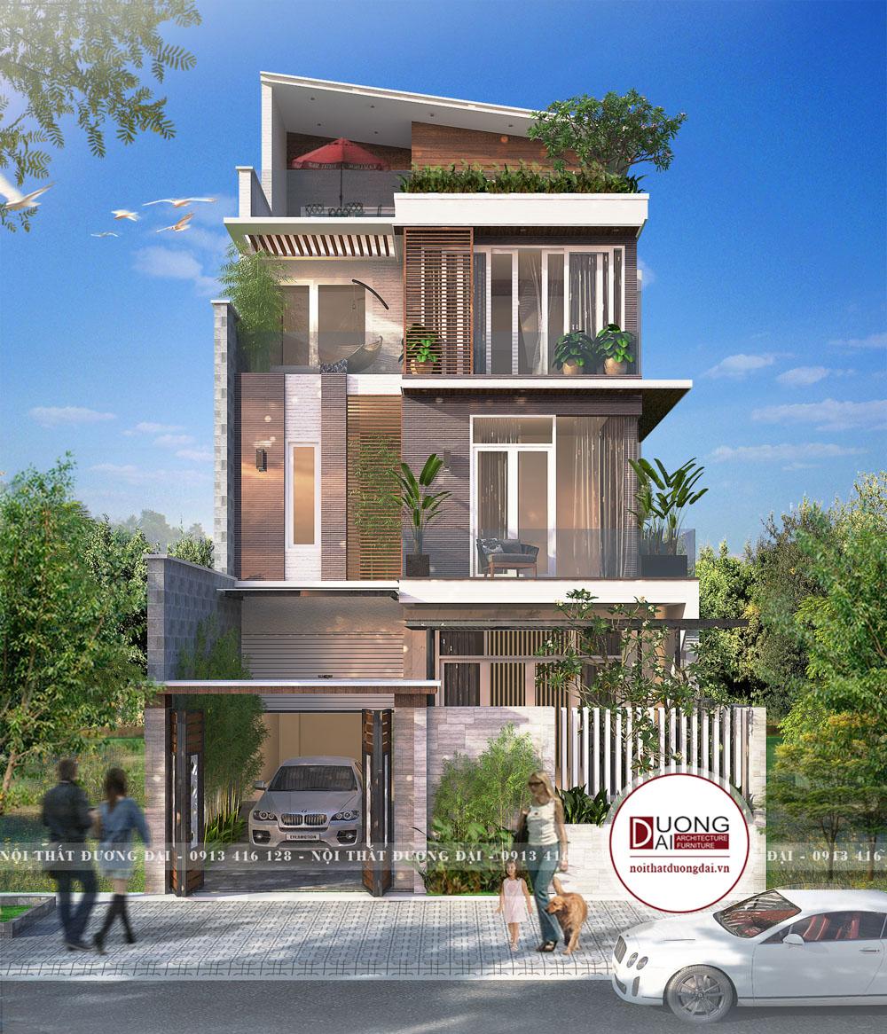 Mặt tiền thiết kế nhà ống 4 tầng hiện đại tại Đà Nẵng