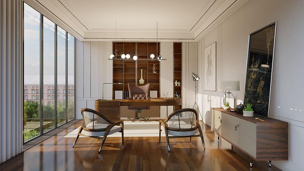 Ánh sánh từ cửa kính lớn giúp căn phòng tràn ngập sinh khí
