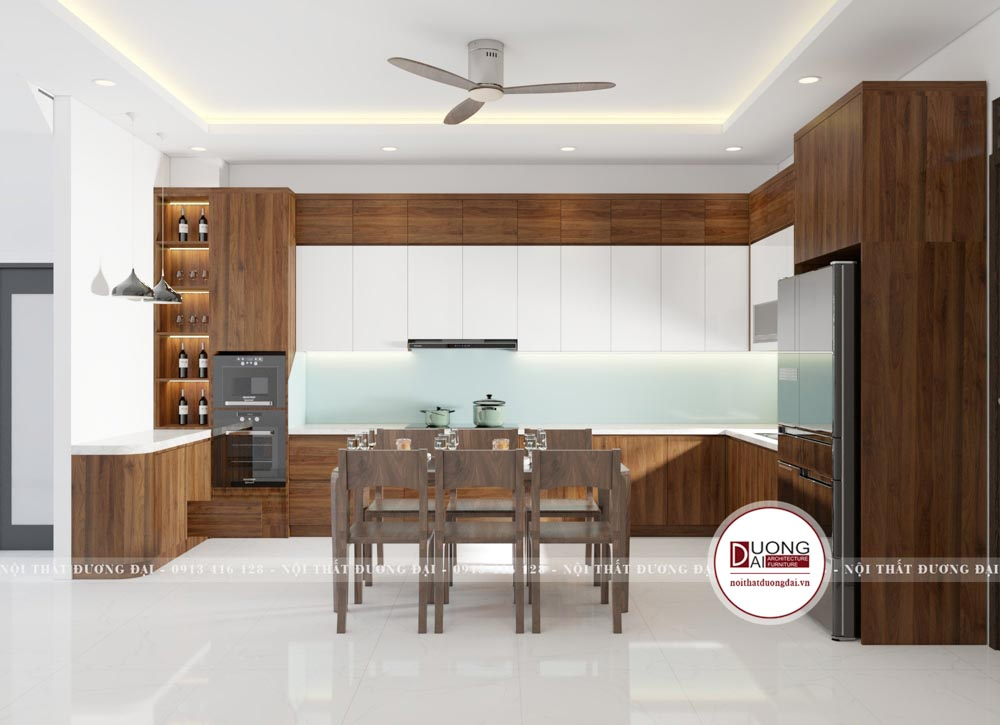 Tủ bếp gỗ chống ẩm An Cường phủ Melamine màu nâu gỗ