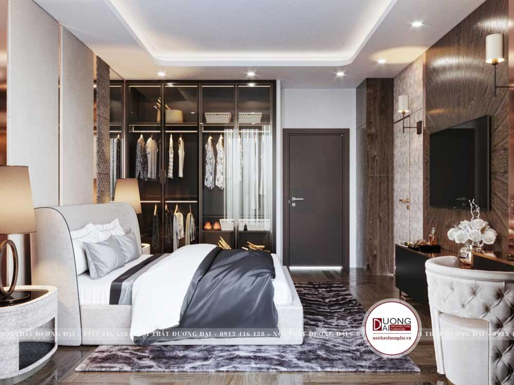 Phòng ngủ sử dụng gam màu xám và nâu ấm áp, tinh tế