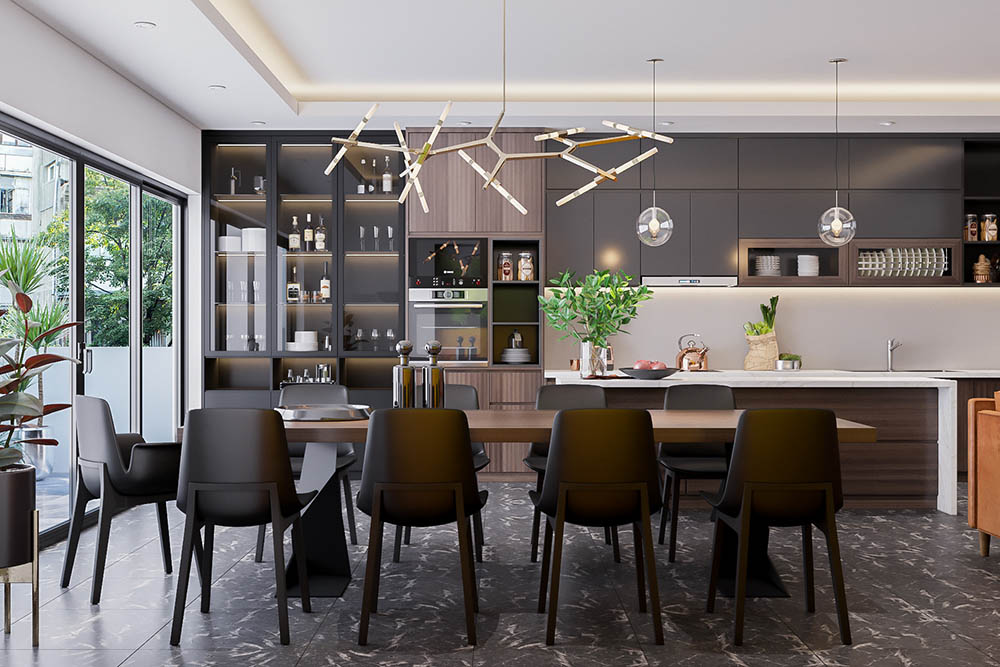 Tủ bếp gỗ phủ Acrylic và cánh kính sẽ mang đến sự bóng sáng cho tủ bếp