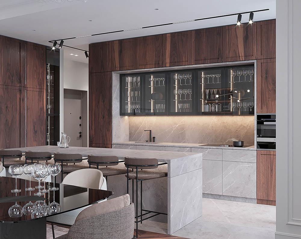 Thiết kế tủ bếp kèm quầy bar siêu sang trọng với các ngăn rượu cánh kính