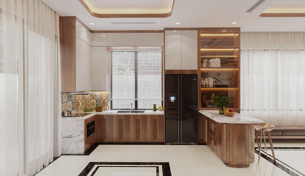Thiết kế phòng bếp đa chức năng với kiểu dáng chữ U tiện nghi