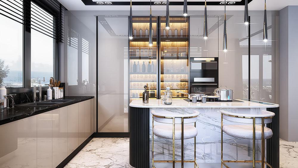 Tủ bếp chữ U siêu tiện nghi với quầy bar và tủ rượu lớn