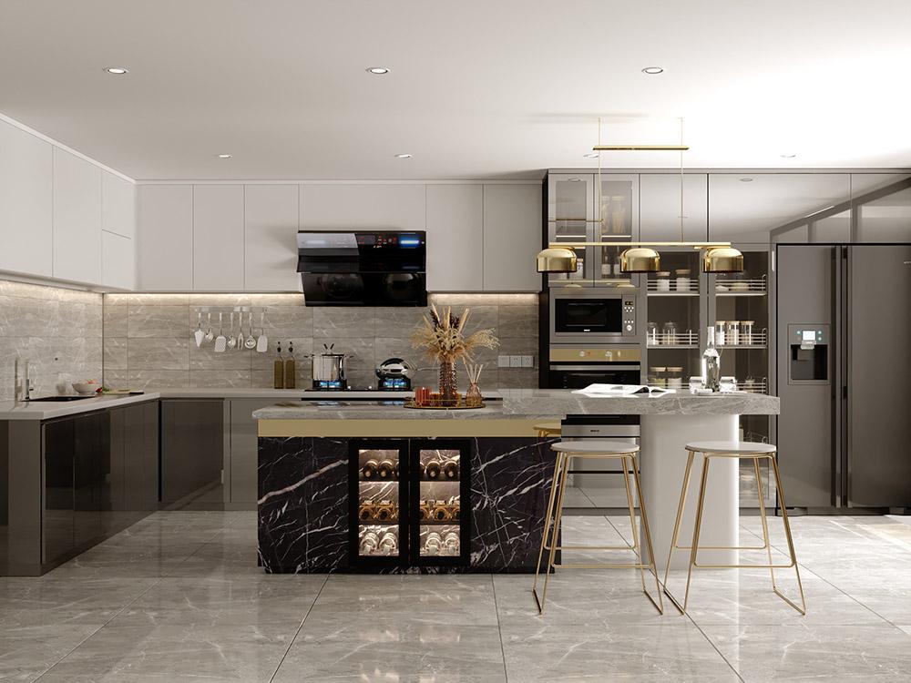 Tủ bếp kích thước lớn cho nhà phố sang trọng, cá tính