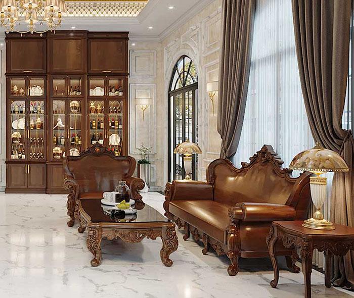 Phòng khách lộng lẫy theo phong cách cổ điển Pháp đầy uy nghi