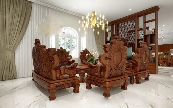 Vách ngăn phòng khách với thiết kế đẳng cấp có kệ bày đồ trang trí
