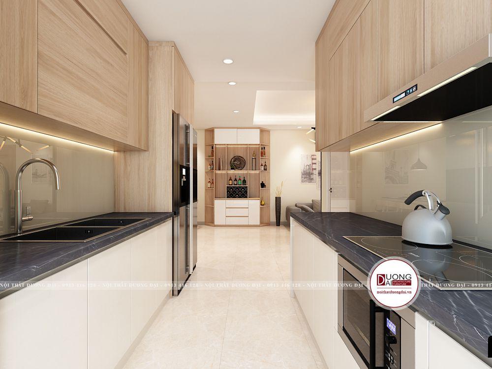 Thiết kế phòng bếp chung cư nhỏ nhưng siêu tiện nghi