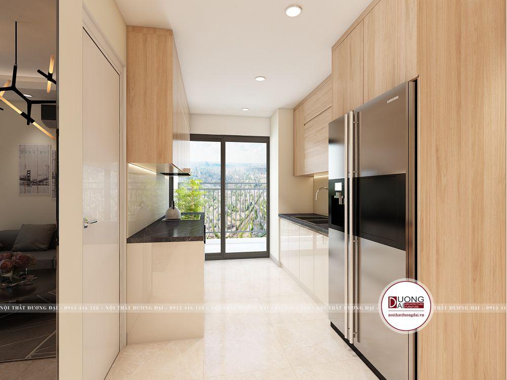 Tủ bếp song song có không gian rộng rãi đặt cửa sổ đón ánh sáng