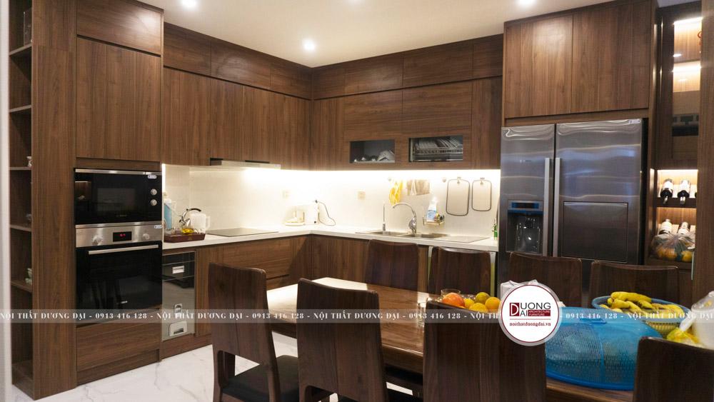 Thiết kế tủ bếp siêu tiện nghi với kiểu dáng chữ L tối ưu diện tích