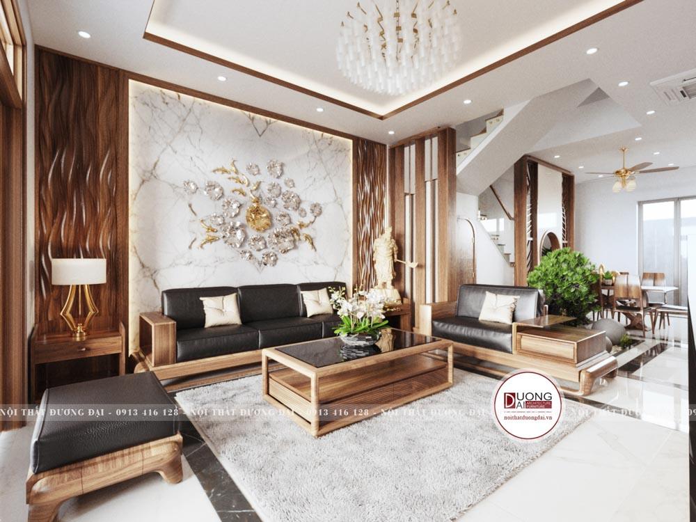Không gian phòng khách siêu đẳng cấp với gam màu nâu trầm