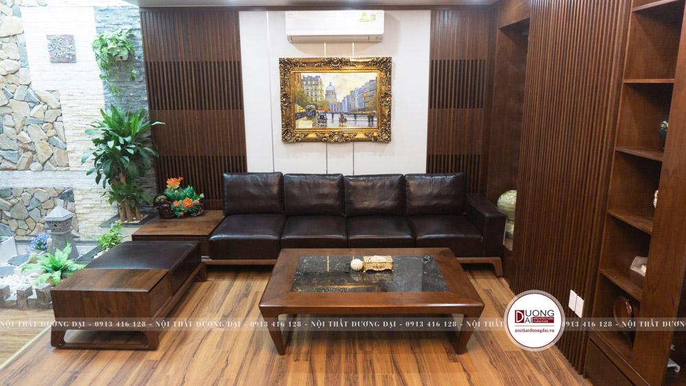 Bộ sofa văng cùng ghế đôn gỗ óc chó cao cấp bọc đệm ngồi bằng da