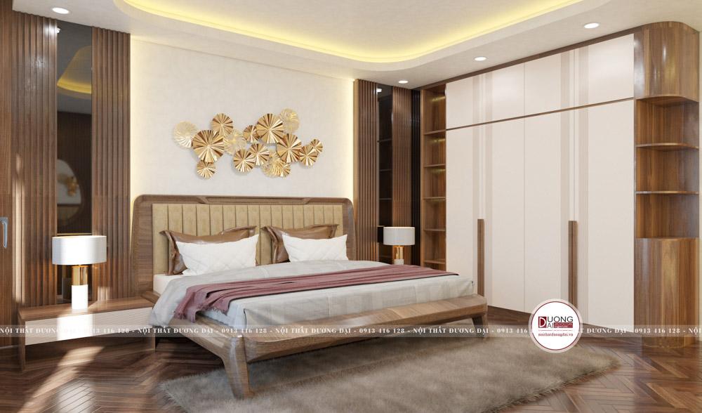 Tủ quần áo gỗ sơn trắng đầy tiện nghi với ngăn tủ lớn