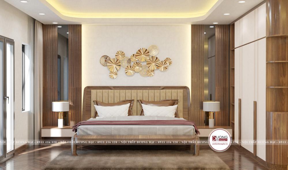 Giường ngủ gỗ óc chó kiểu dáng độc đáo với đường nét hiện đại