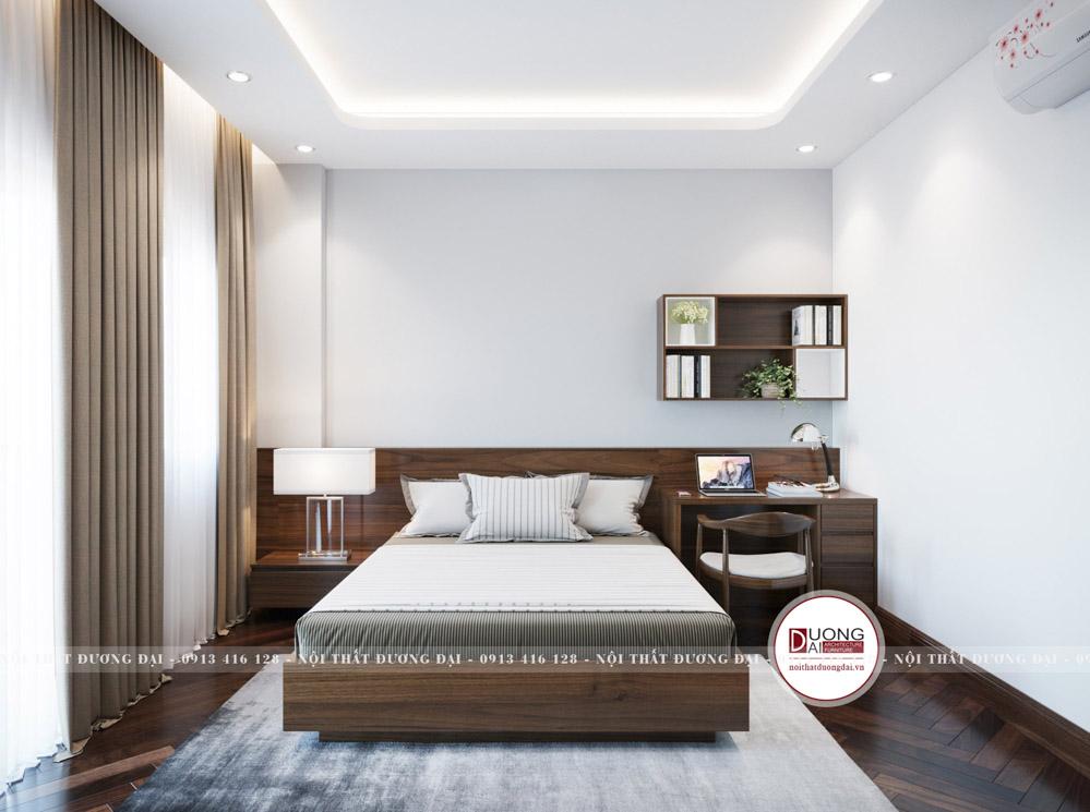 Phòng ngủ của ông với màu nâu trầm tĩnh cùng nội thất tiện nghi
