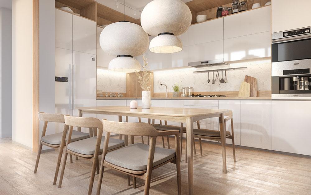 Thiết kế phòng bếp màu trắng trang nhã và ấm áp