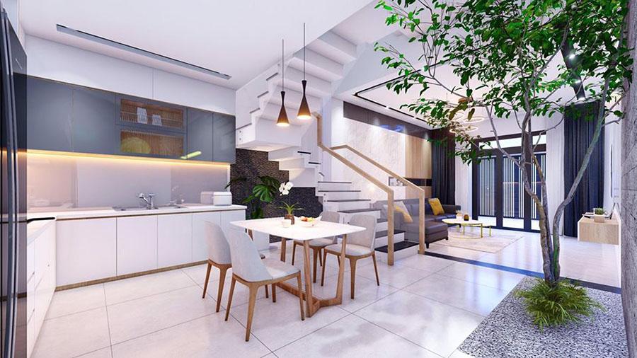 Giếng trời cho nhà bếp hiện đại sang trọng tiết kiệm điện năng