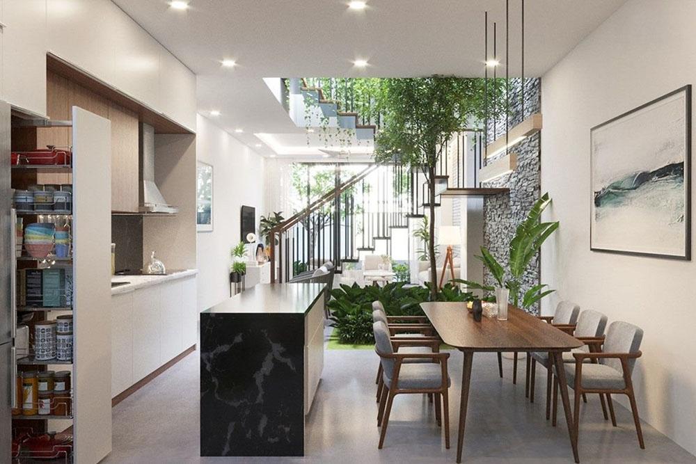 Cây xanh được trồng mang đến thiên nhiên xanh mát vào nhà