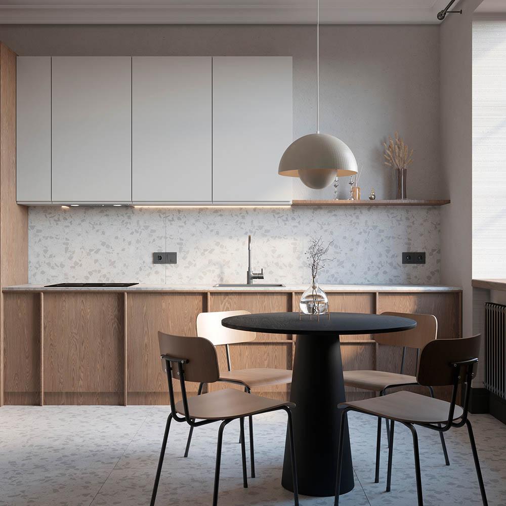 Thiết kế phòng bếp đơn giản với nét đẹp trang nhã