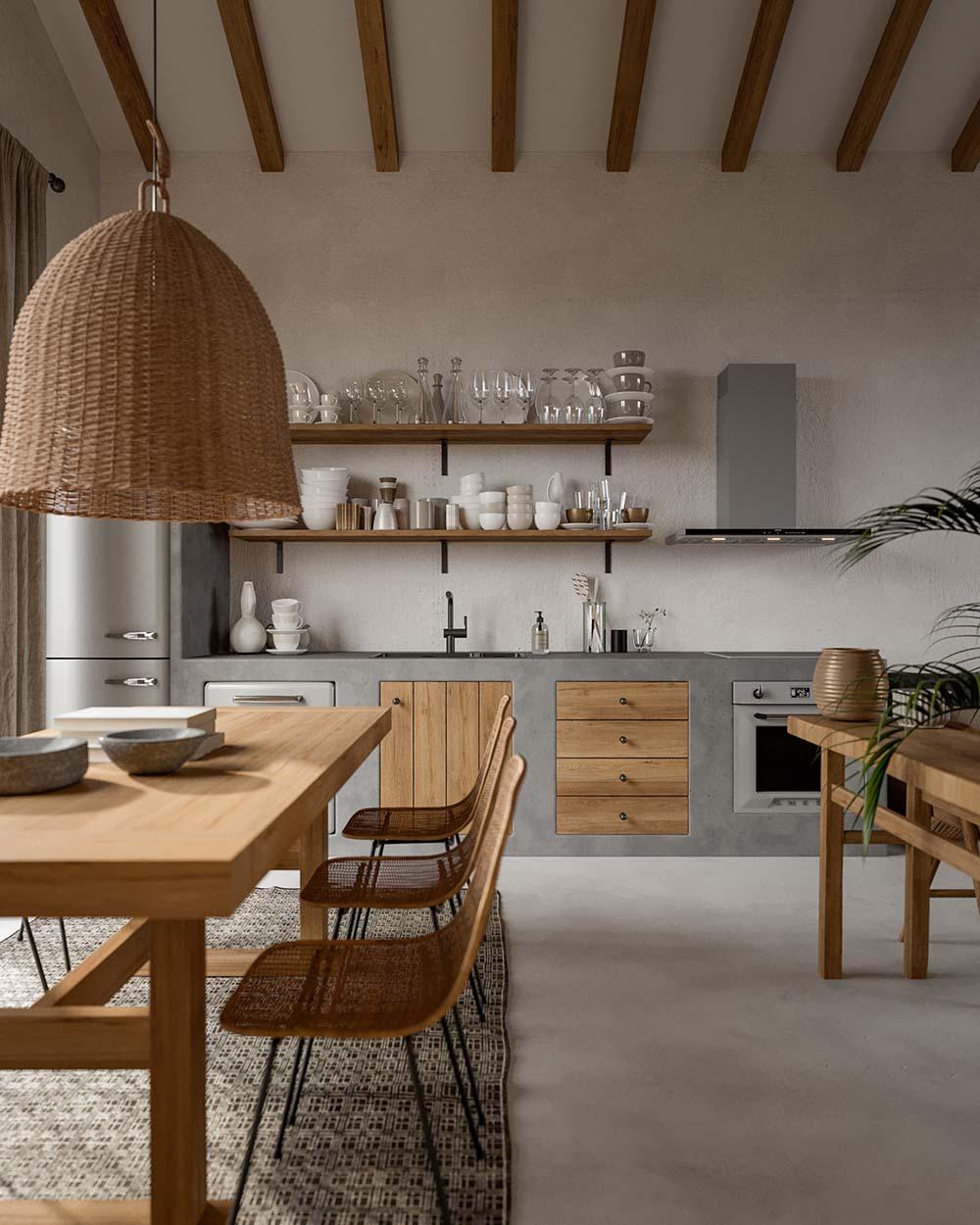 Bài trí căn bếp với nét đẹp thanh nhã và mộc mạc