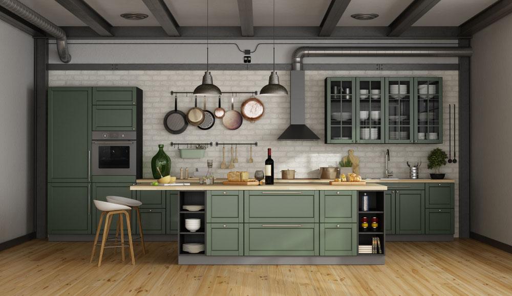 Phòng bếp được bài trí đẹp mắt với thiết kế đảo bếp tiện nghi