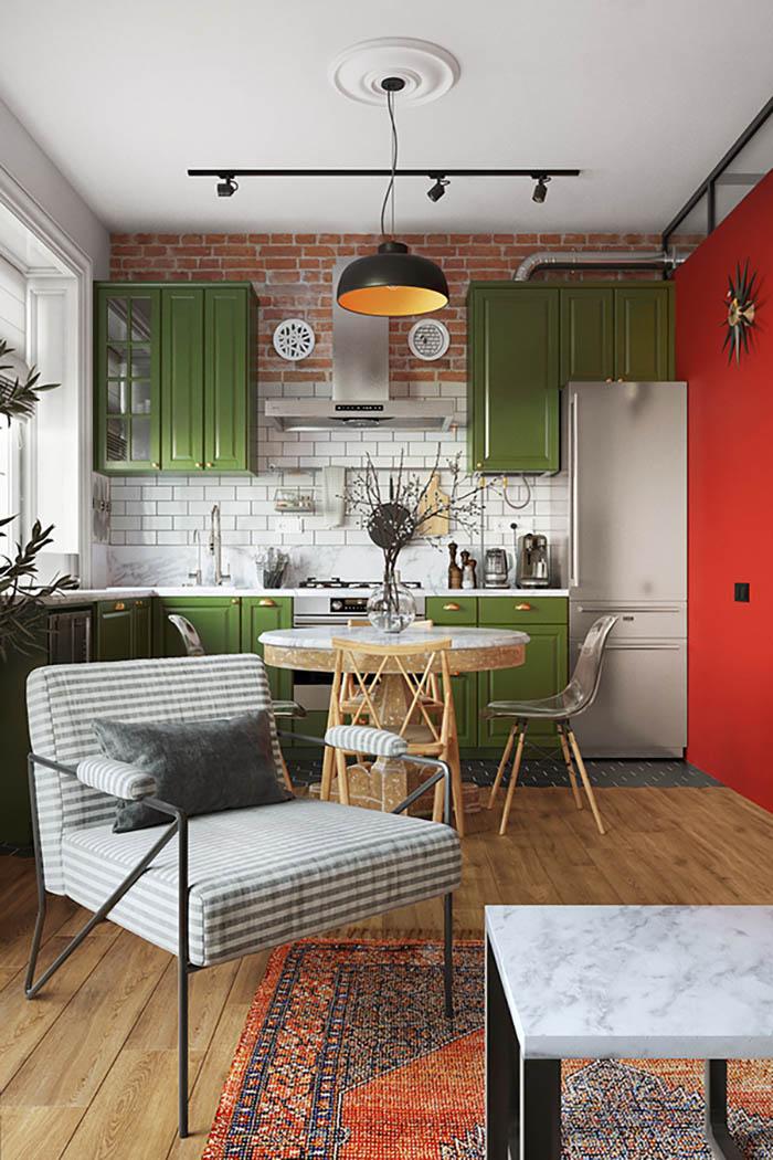 Thiết kế tủ bếp màu xanh siêu ấn tượng với phào chỉ nhỏ