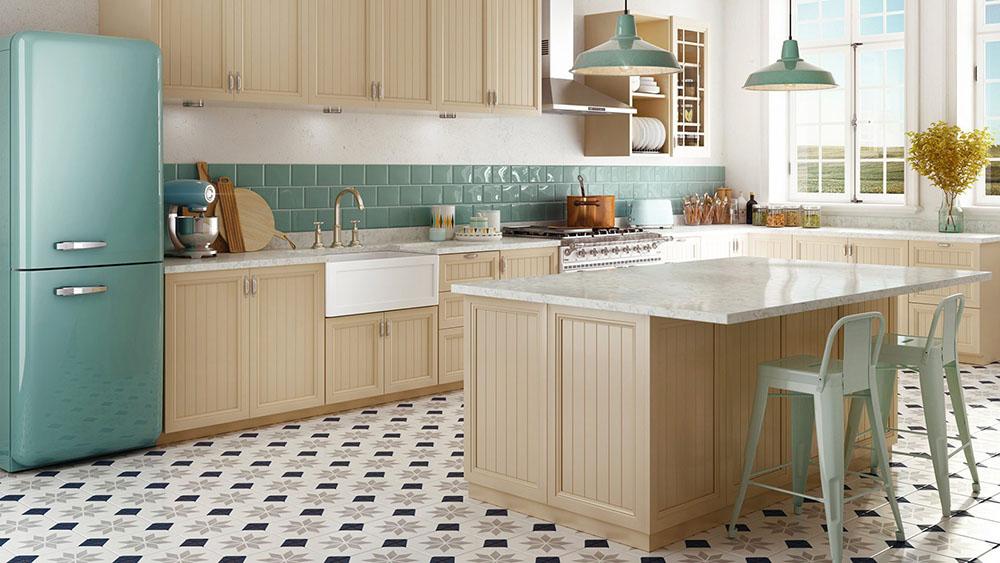 Sự kết hợp màu sắc trung tính tạo nên căn bếp Vintage ấm áp