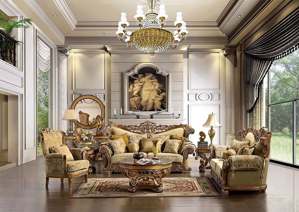 Mẫu phòng khách hoàng gia siêu tráng lệ với gam màu trắng và vàng