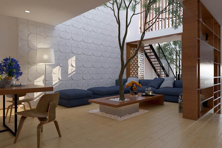 Thiết kế phòng khách hài hòa với thiên nhiên