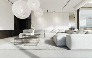 Phòng khạch siêu ấn tượng với gam màu trắng thanh tao