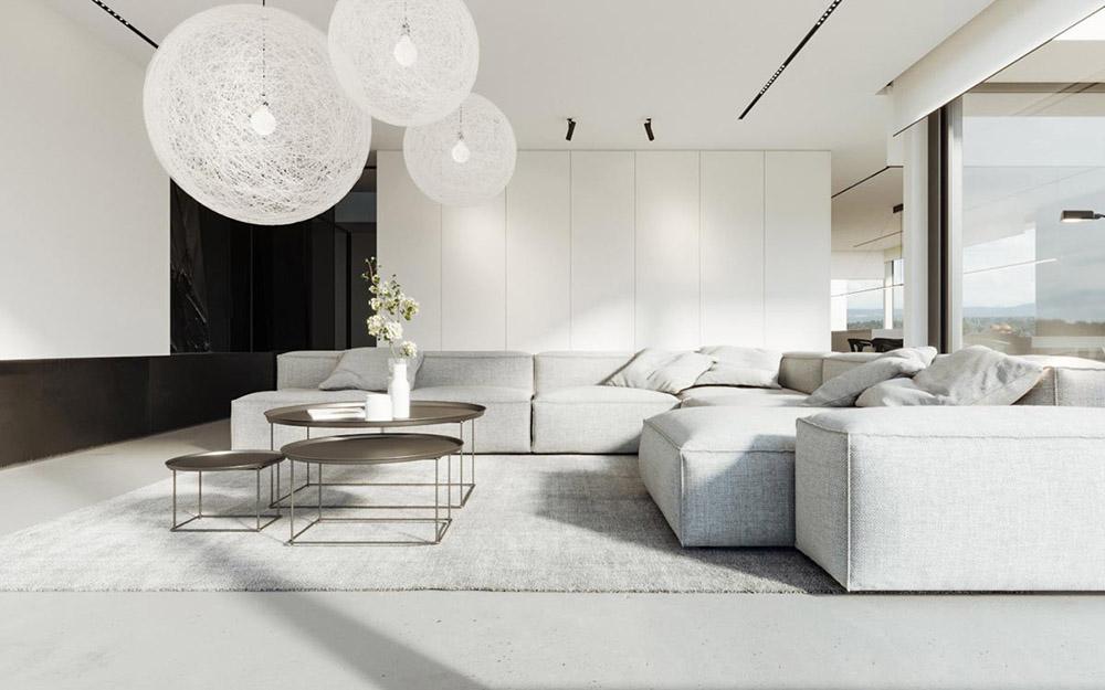 Phòng khách màu trắng pha với màu ghi sáng ấm áp dịu nhẹ