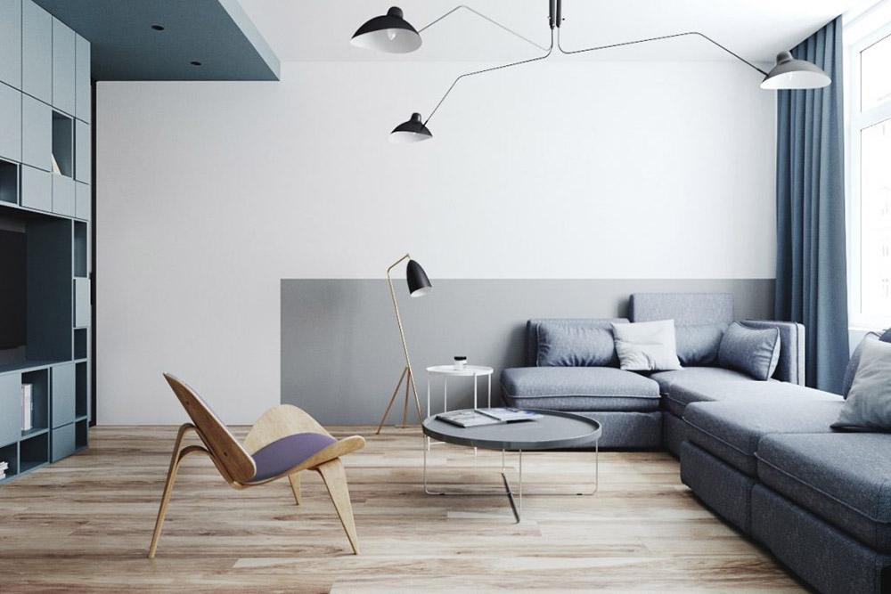 Màu xanh pastel tạo sự ấm áp và gần gũi cho căn phòng