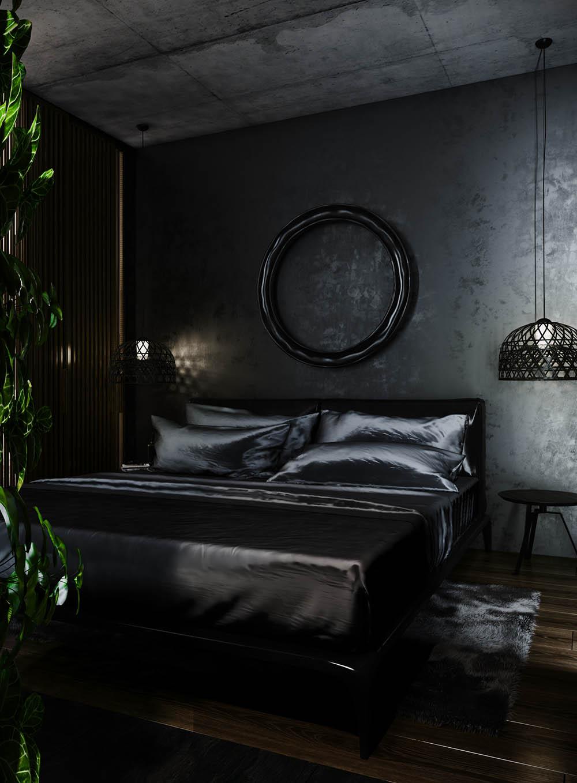 Màu đen sẽ làm căn phòng bị tối nên cần có cửa sổ kính