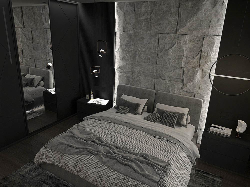 Bức tường kê giường làm từ đá tự nhiên tôn lên nét đẹp sang trọng, xa hoa