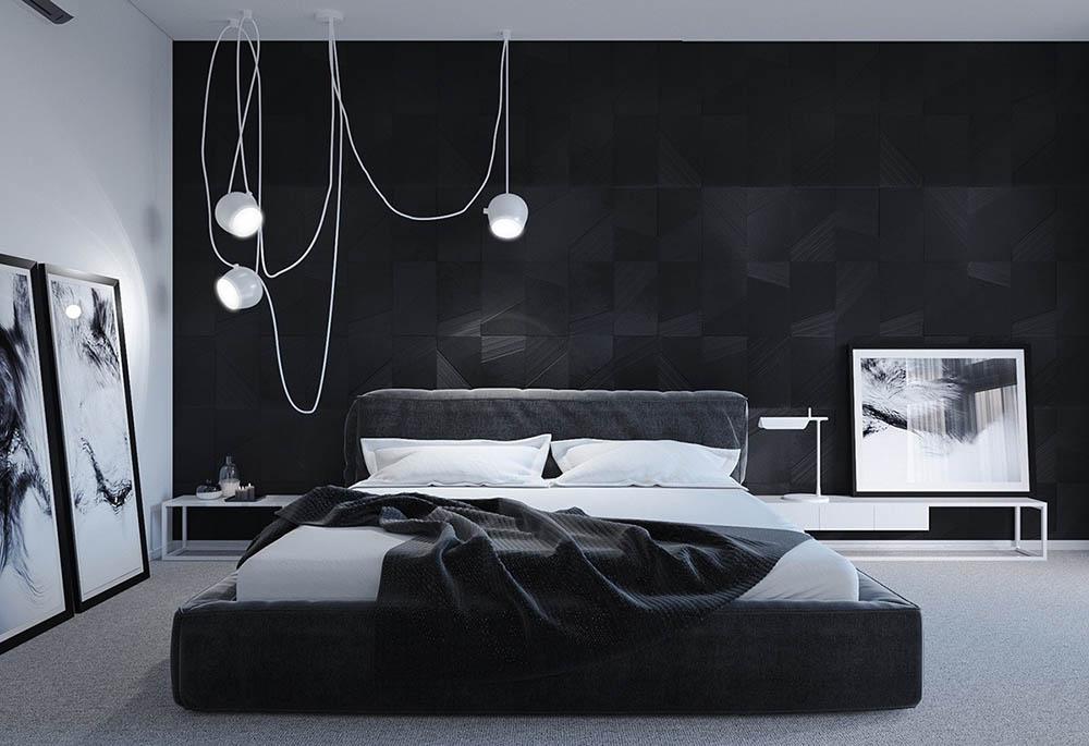 Thiết kế phòng đen - trắng tương phản đầy cá tính