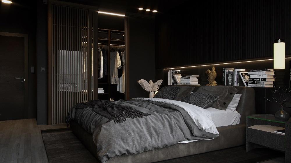Phòng ngủ hiện đại với nội thất cánh kính xa hoa và lộng lẫy