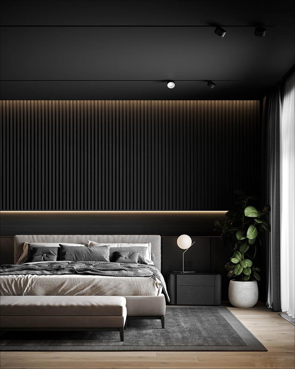 Thiết kế phòng có nền tường đen và nội thất màu ghi nhạt ấm áp
