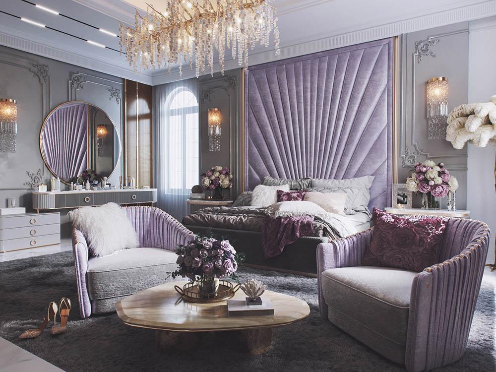 Phòng ngủ siêu lãng mạn cho các cặp đôi với phong cách tân cổ điển