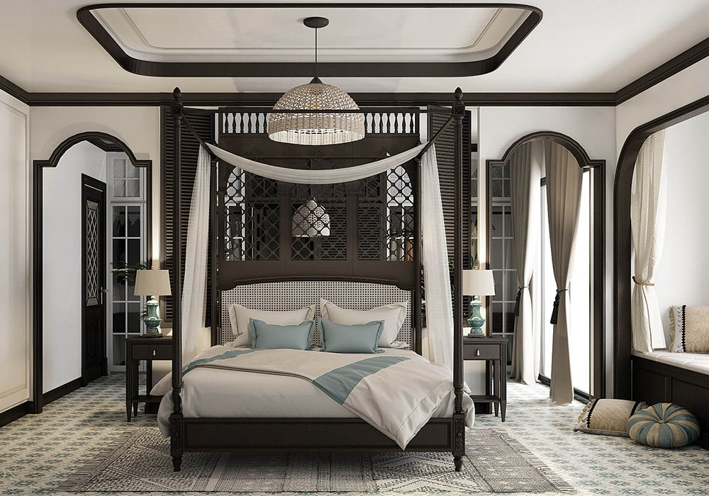 Phòng ngủ phong cách Indochine | 15+ Thiết kế siêu ấn tượng