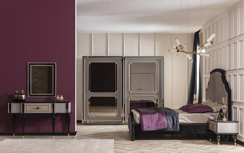 Màu tím đậm kết hợp với màu be tạo nên sự ấn tượng và cá tính