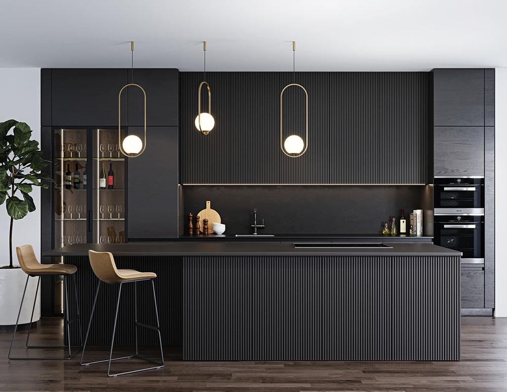 Thiết kế tủ màu đen siêu cá tính làm nổi bật căn phòng