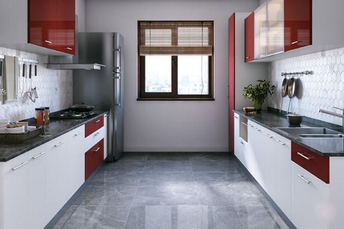 Thiết kế phòng bếp chung cư màu đỏ - trắng bắt mắt