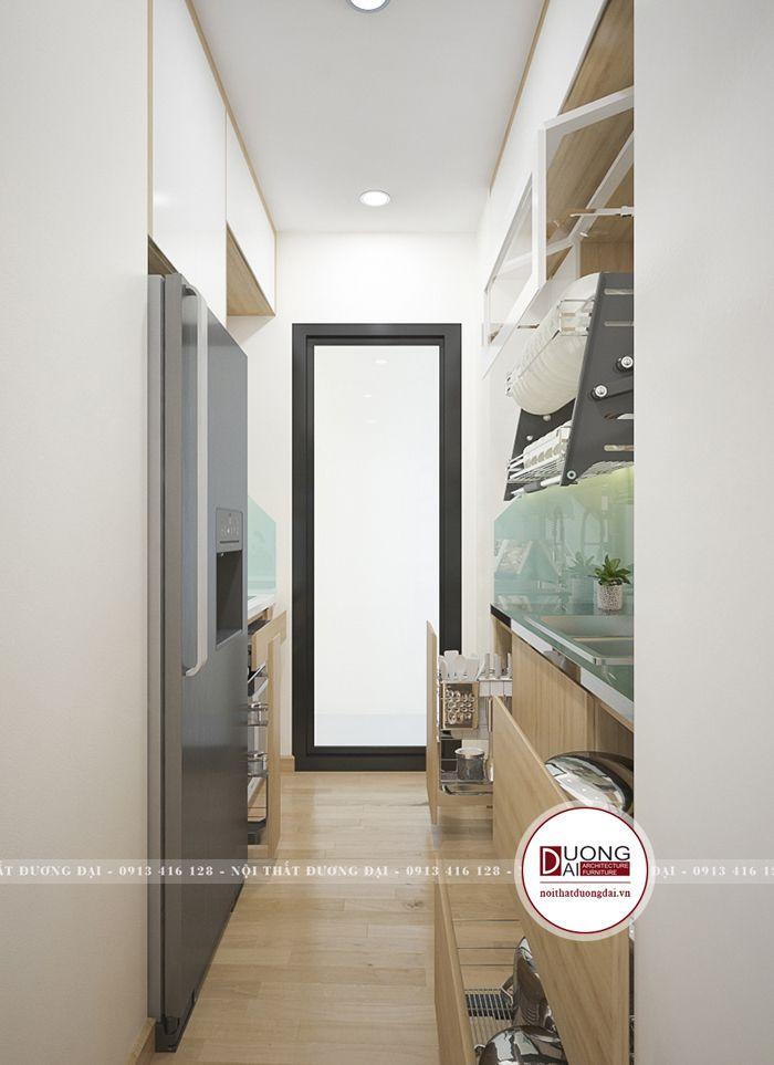Phòng bếp 6m2 vẫn bài trí phòng bếp tiện nghi