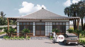 Mặt tiền của biệt thự với kiến trúc nhà 1 tầng phong cách Á Đông