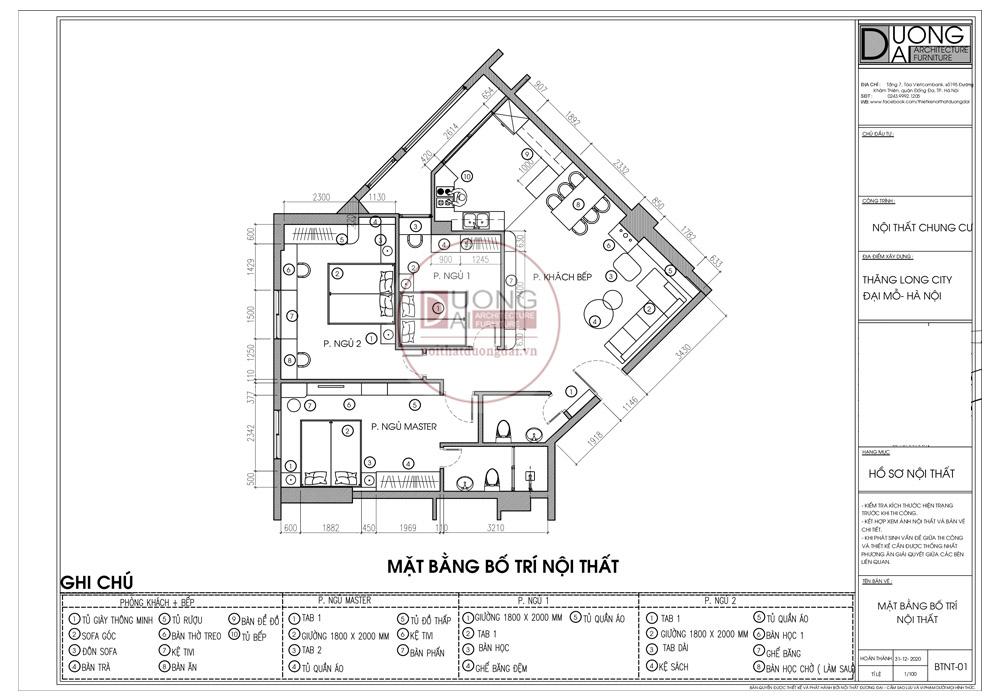 Mặt bằng công năng căn hộ 88m2 của chị Tuyền