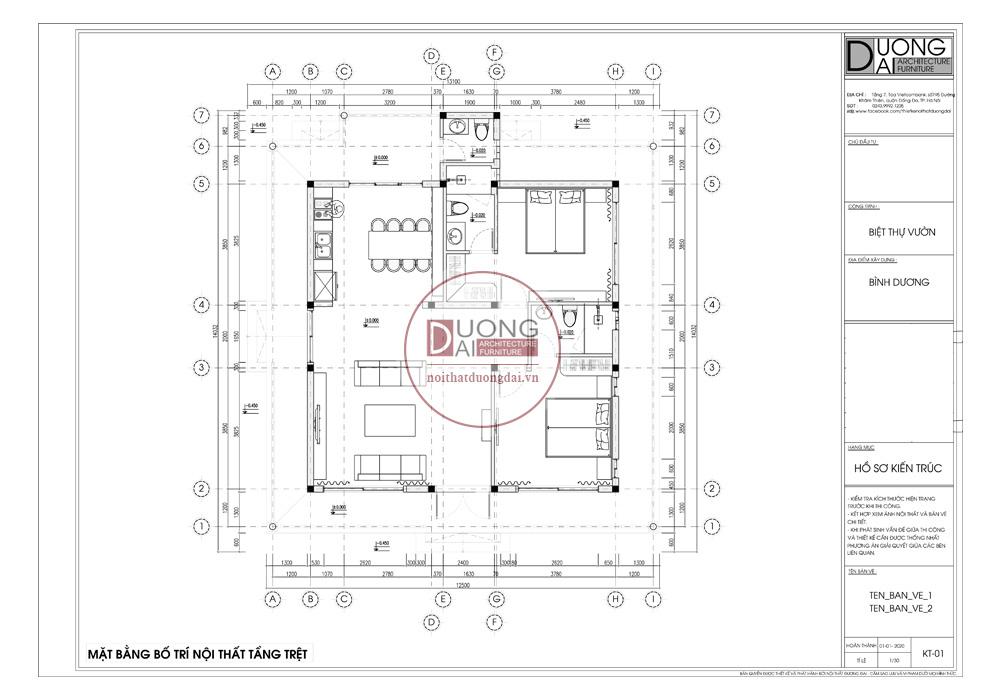 Thiết kế kiến trúc ở Bình Dương | CĐT: Anh Ánh - Biệt thự 182m2