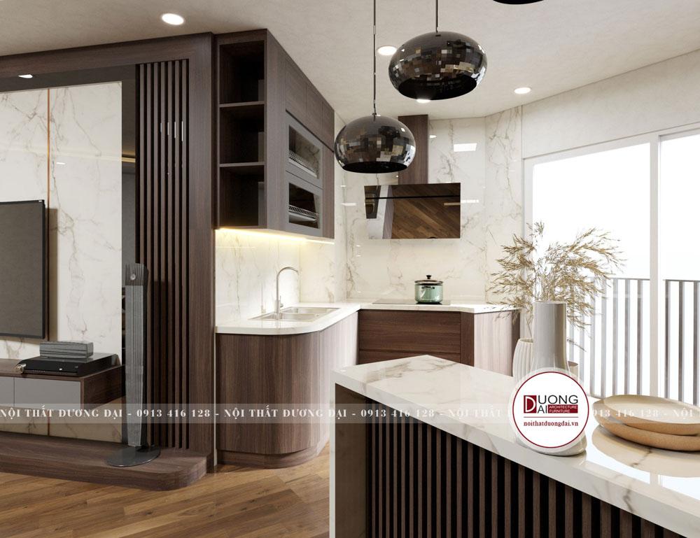 Diện tích phòng bếp nhỏ nhưng siêu tiện nghi và ấn tượng
