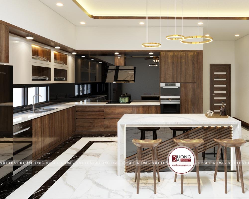 Tủ bếp siêu hiện đại với thiết kế âm tường tối ưu diện tích