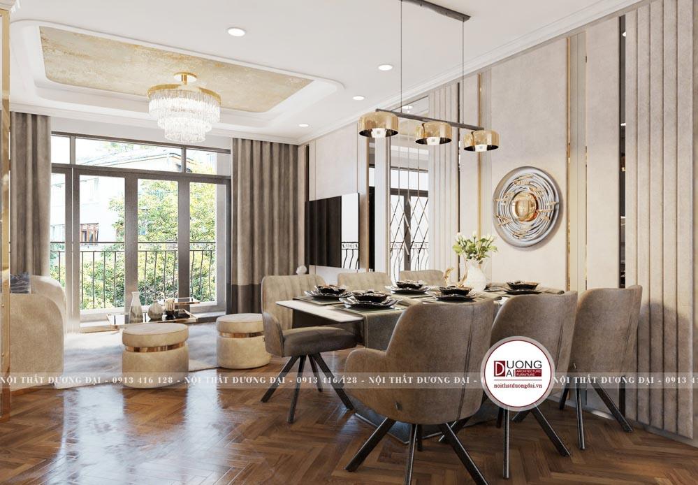 Thiết kế bàn ăn 6 ghế bọc nỉ màu be ấm áp và quý phái